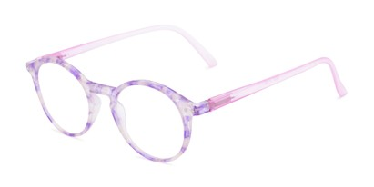 Angle of The Misha in Purple/Pink, Women's Round Reading Glasses
