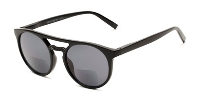 Angle of The Moby Bifocal Reading Sunglasses in Black with Smoke, Women's and Men's Aviator Reading Sunglasses