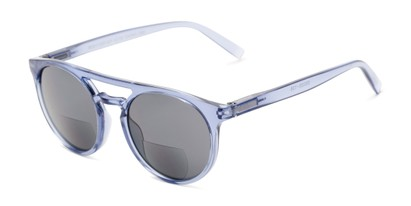 Angle of The Moby Bifocal Reading Sunglasses in Blue with Smoke, Women's and Men's Aviator Reading Sunglasses
