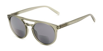 Angle of The Moby Bifocal Reading Sunglasses in Green with Smoke, Women's and Men's Aviator Reading Sunglasses