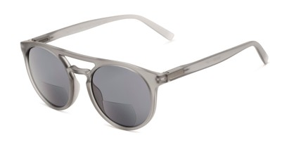 Angle of The Moby Bifocal Reading Sunglasses in Grey with Smoke, Women's and Men's Aviator Reading Sunglasses