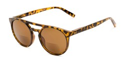 Angle of The Moby Bifocal Reading Sunglasses in Tortoise with Amber, Women's and Men's Aviator Reading Sunglasses