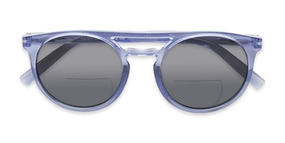 Folded of The Moby Bifocal Reading Sunglasses in Blue with Smoke