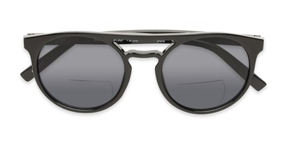 Folded of The Moby Bifocal Reading Sunglasses in Black with Smoke