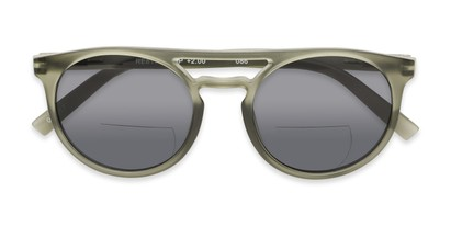 Folded of The Moby Bifocal Reading Sunglasses in Green with Smoke