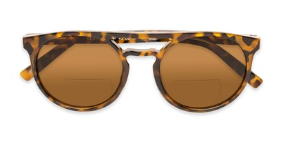Folded of The Moby Bifocal Reading Sunglasses in Tortoise with Amber
