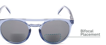 Detail of The Moby Bifocal Reading Sunglasses in Blue with Smoke