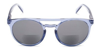 Front of The Moby Bifocal Reading Sunglasses in Blue with Smoke