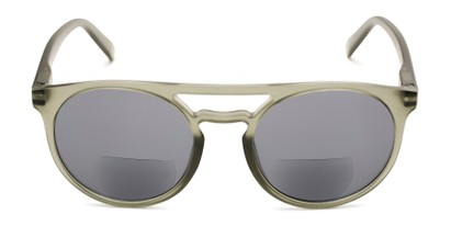 Front of The Moby Bifocal Reading Sunglasses in Green with Smoke