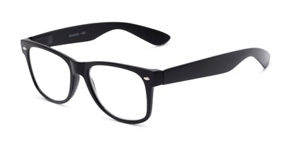 Angle of The Mooresville in Glossy Black, Women's and Men's Retro Square Reading Glasses