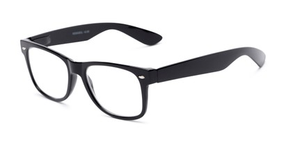 Angle of The Mooresville in Matte Black, Women's and Men's Retro Square Reading Glasses