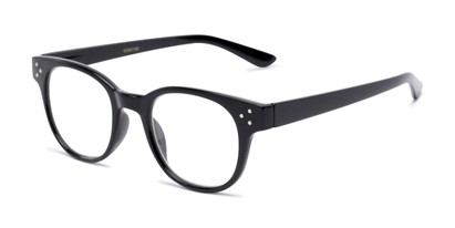 Angle of The Mulberry in Black, Women's and Men's Retro Square Reading Glasses