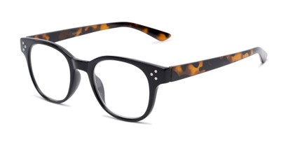 Angle of The Mulberry in Black/Tortoise, Women's and Men's Retro Square Reading Glasses