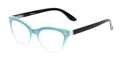 Angle of The Mya Bifocal in Blue Fade/Black, Women's Cat Eye Reading Glasses
