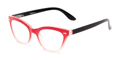 Angle of The Mya Bifocal in Red Fade/Black, Women's Cat Eye Reading Glasses