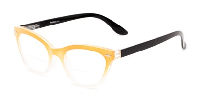 Angle of The Mya Bifocal in Yellow Fade/Black, Women's Cat Eye Reading Glasses
