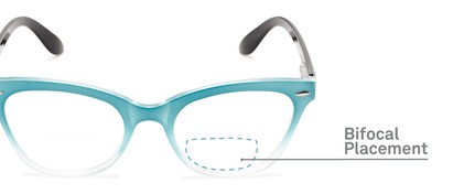 Detail of The Mya Bifocal in Blue Fade/Black