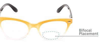 Detail of The Mya Bifocal in Yellow Fade/Black