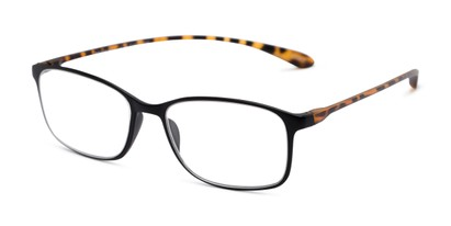 Angle of The Neptune in Black/Tortoise, Women's and Men's Rectangle Reading Glasses