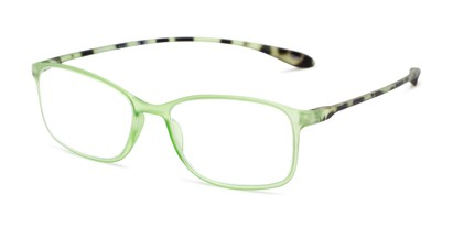 Angle of The Neptune in Green/Tortoise, Women's and Men's Rectangle Reading Glasses