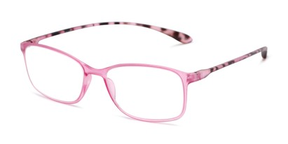 Angle of The Neptune in Pink/Tortoise, Women's and Men's Rectangle Reading Glasses