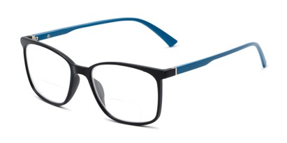 Angle of The Nola Bifocal in Black/Blue, Women's and Men's Retro Square Reading Glasses