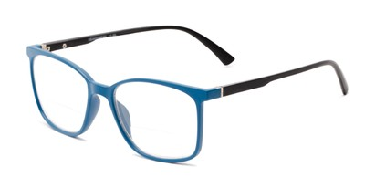 Angle of The Nola Bifocal in Blue/Black, Women's and Men's Retro Square Reading Glasses