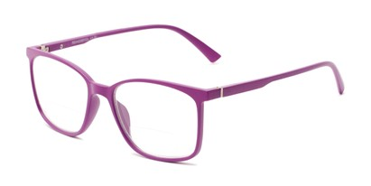 Angle of The Nola Bifocal in Purple, Women's and Men's Retro Square Reading Glasses