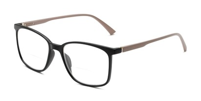 Angle of The Nola Bifocal in Black/Tan, Women's and Men's Retro Square Reading Glasses