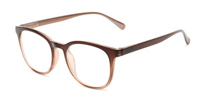 Angle of The Norwich Bifocal in Brown Fade, Women's and Men's Round Reading Glasses
