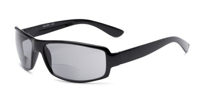 Angle of The Oaklie Bifocal Reading Sunglasses in Black with Smoke, Men's Rectangle Reading Sunglasses