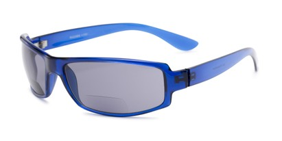 Angle of The Oaklie Bifocal Reading Sunglasses in Bright Blue with Smoke, Men's Rectangle Reading Sunglasses