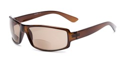 Angle of The Oaklie Bifocal Reading Sunglasses in Brown with Amber, Men's Rectangle Reading Sunglasses