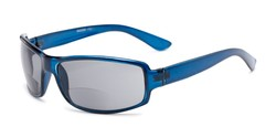 Angle of The Oaklie Bifocal Reading Sunglasses in Dark Blue with Smoke, Men's Rectangle Reading Sunglasses