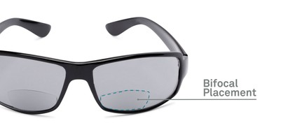 Detail of The Oaklie Bifocal Reading Sunglasses in Black with Smoke