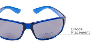 Detail of The Oaklie Bifocal Reading Sunglasses in Bright Blue with Smoke