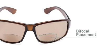Detail of The Oaklie Bifocal Reading Sunglasses in Brown with Amber