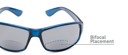 Detail of The Oaklie Bifocal Reading Sunglasses in Dark Blue with Smoke