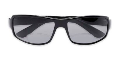 Folded of The Oaklie Bifocal Reading Sunglasses in Black with Smoke