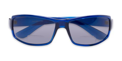 Folded of The Oaklie Bifocal Reading Sunglasses in Bright Blue with Smoke