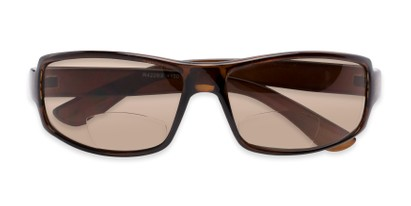 Folded of The Oaklie Bifocal Reading Sunglasses in Brown with Amber