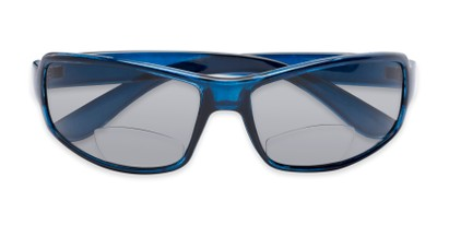 Folded of The Oaklie Bifocal Reading Sunglasses in Dark Blue with Smoke