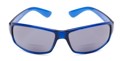 Front of The Oaklie Bifocal Reading Sunglasses in Bright Blue with Smoke