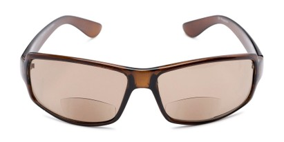 Front of The Oaklie Bifocal Reading Sunglasses in Brown with Amber