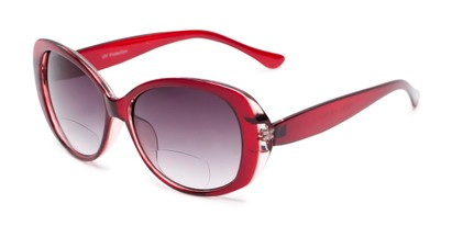 Angle of The Olive Bifocal Reading Sunglasses in Red with Smoke, Women's Cat Eye Reading Sunglasses