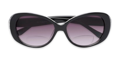 Folded of The Olive Bifocal Reading Sunglasses in Black with Smoke