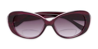Folded of The Olive Bifocal Reading Sunglasses in Purple with Smoke