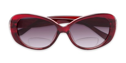 Folded of The Olive Bifocal Reading Sunglasses in Red with Smoke