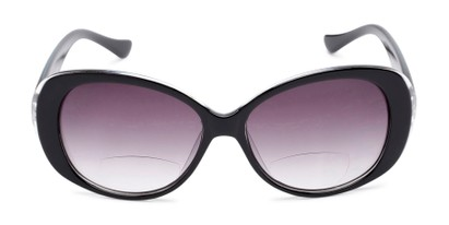 Front of The Olive Bifocal Reading Sunglasses in Black with Smoke