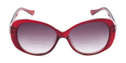 Front of The Olive Bifocal Reading Sunglasses in Red with Smoke